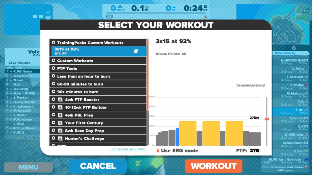 Zwift Introduces Auto Sync With TrainingPeaks Custom Workouts